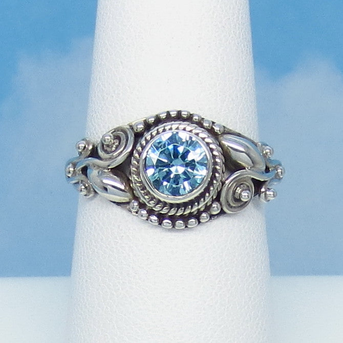 1.0ct Size 8 Natural Sky Blue Topaz Ring - Sterling Silver - Victorian Filigree Antique Boho Bali Design - Round 6mm - Genuine jy161223av