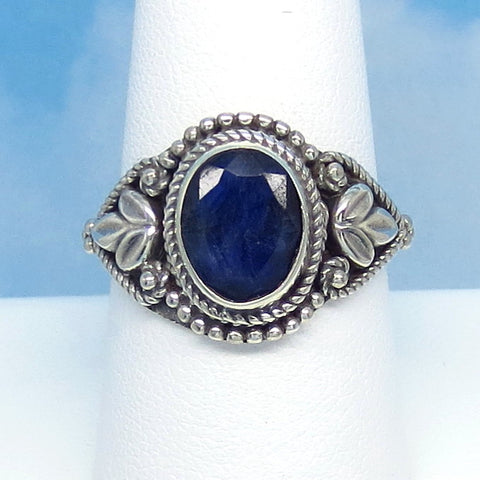 Size 9 - 3.15ct Natural Sapphire Ring - Sterling Silver - Large Oval - Victorian Filigree - Bali Boho Gothic Ring - Genuine - Raw - 0012-02