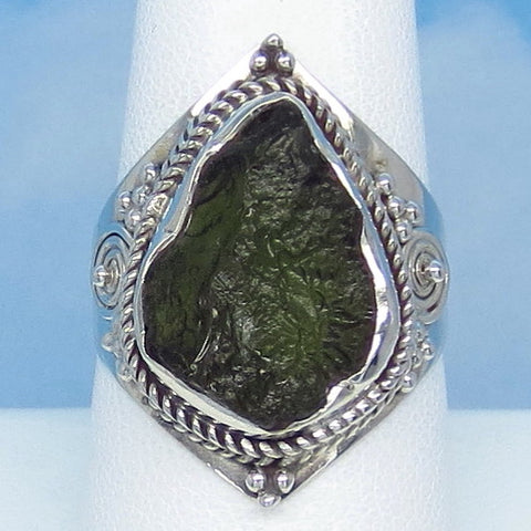 "Size 8-1/2 Czech Moldavite Ring - Sterling Silver - 1"" Tall - 17 x 11mm Moldavite - Tektite - Meteorite - Natural - Genuine - Boho - MM77"
