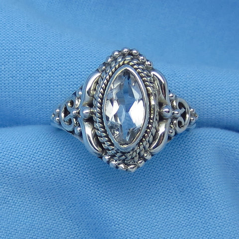 Size 6-1/2 Genuine Natural White Topaz Ring - Sterling Silver - .75ct - Marquise - Victorian Filigree Bali Design - sa161106-mq