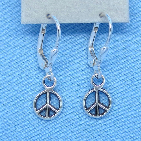 "Tiny Sterling Silver Peace Earrings - Leverback - 1"" Dangles - 7mm Round - p160488"
