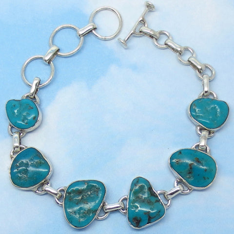 "Natural Arizona Turquoise Nugget Bracelet - Sterling Silver - Genuine Arizona Turquoise - Adjustable 7"" to 8"" - jy262808"