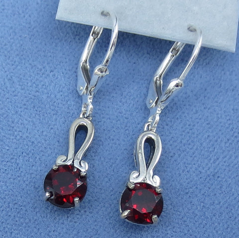 Small Genuine Garnet Earrings - Sterling Silver - Leverback - Victorian Filigree Design -- M22G