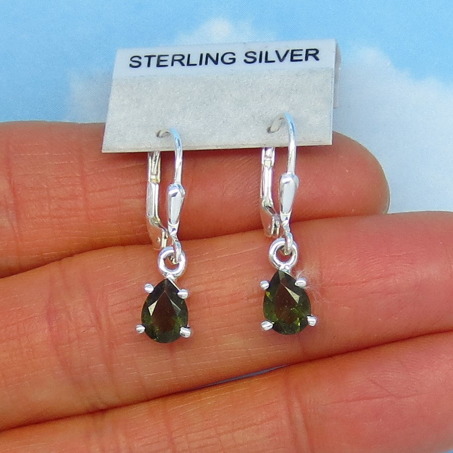 Faceted Czech Moldavite Earrings - Sterling Silver - Leverback Dangle - 7 x 5mm - Natural - Genuine - Tektite - Meteorite Earrings - 182203