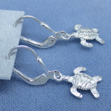 Tiny Baby Sea Turtle Leverback Earrings - Sterling Silver - Dainty Small - Hand Made -- 200596
