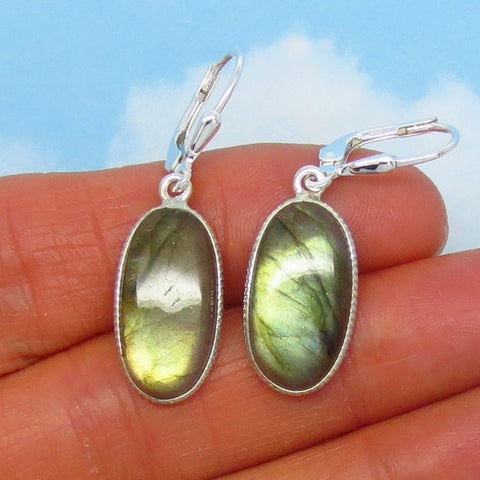 Natural Green Labradorite Earrings - Leverback - Sterling Silver - Long Oval - 18 x 9mm Long Ovals - Thin Lightweight - 3.8g - M098