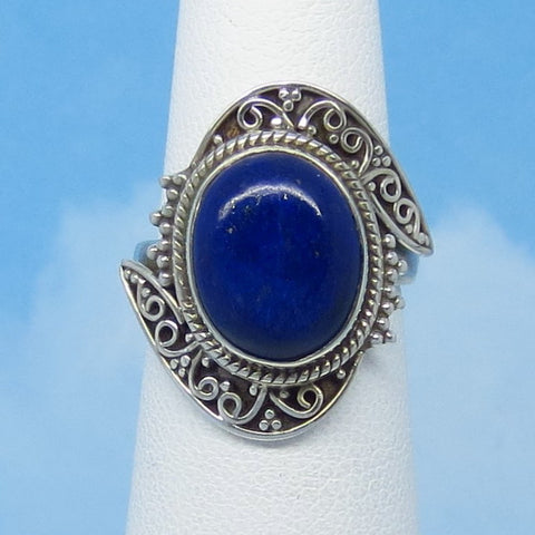 Size 4-1/2 Natural Lapis Lazuli Ring - Sterling Silver - Oval - Filigree Victorian Style Boho Bali - Genuine Lapis - Bypass Ring - jy201605
