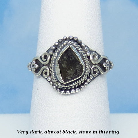 Size 7-1/2 Dainty Czech Moldavite Ring - Sterling Silver - Small - Victorian Filigree Design - Tektite - Meteorite - Natural Genuine - Boho - MM44