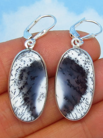 Merlinite Dendrite Opal Earrings - Sterling Silver - Leverback Dangle - Large Oval Long Simple - Dendritic Opal Agate - 181701
