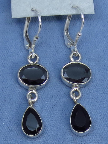 Faceted Black Onyx Leverback Dangle Earrings - P3678