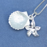 Sea Shell & Starfish Necklace - Sterling Silver - Choice of Chain Length - Handmade -P180703