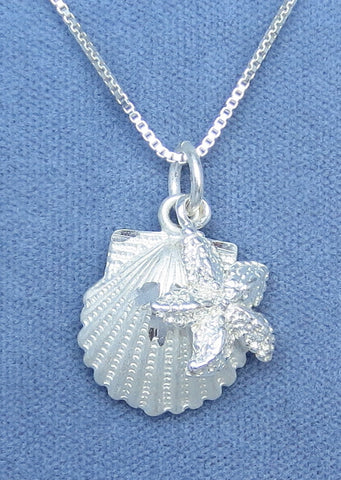 Sea Shell & Starfish Necklace - Sterling Silver - Choice of Chain Length - Hand Made -- P160653