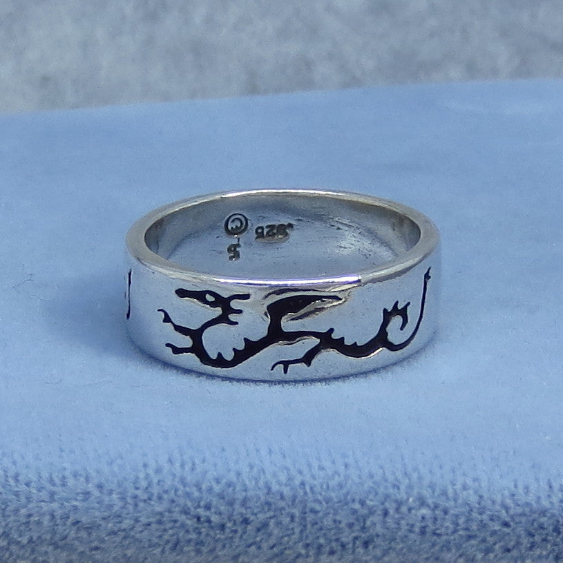 Size 6.75 Sterling Silver Dragon Band Ring - Dragons All Around - Black Enamel - Hand Made USA - 940790