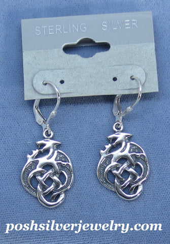 Celtic Dragon Leverback Earrings - Sterling Silver - P233