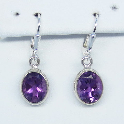 4.8ctw Natural Amethyst Earrings - Sterling Silver - 10 x 8mm Oval - Genuine Purple Amethyst - Large - Simple - su211506