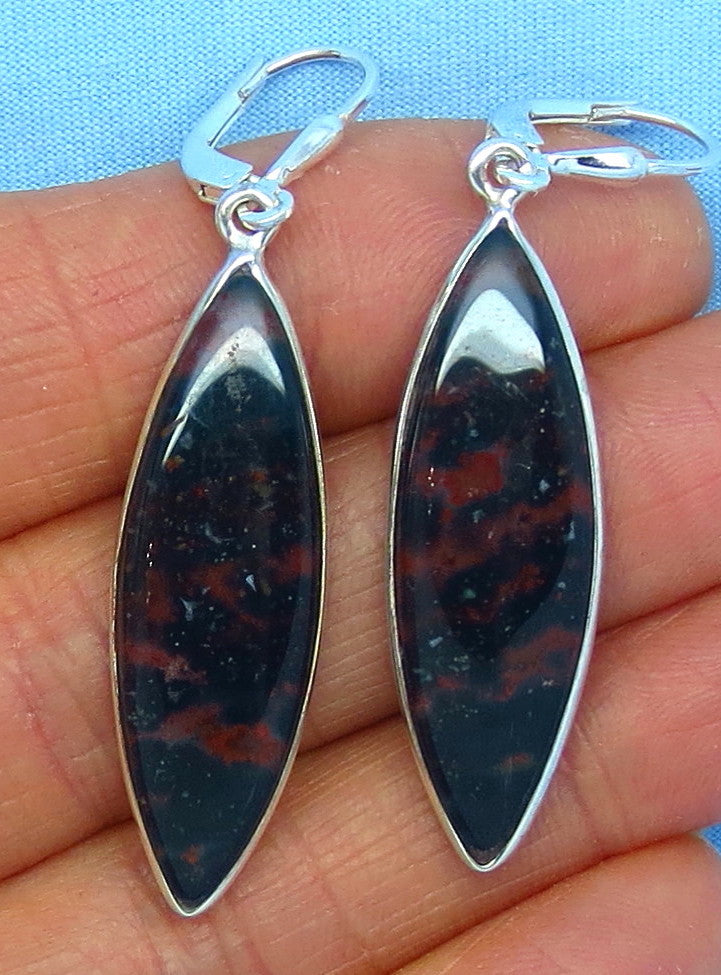 Bloodstone Leverback Earrings - Sterling Silver - Marquise - Long Dangles - Heliotrope - Jasper - Handmade - 181604