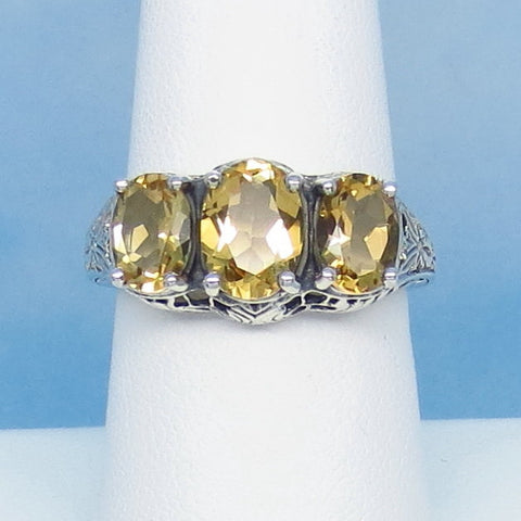 Size 7-3/4 Genuine Citrine Ring - Victorian Filigree Reproduction - Gothic Ring - 3 Stone - 262408