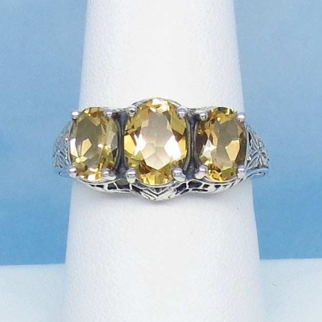Size 6-3/4 Genuine Citrine Ring - Victorian Filigree Reproduction - Gothic Ring - 3 Stone - 262407