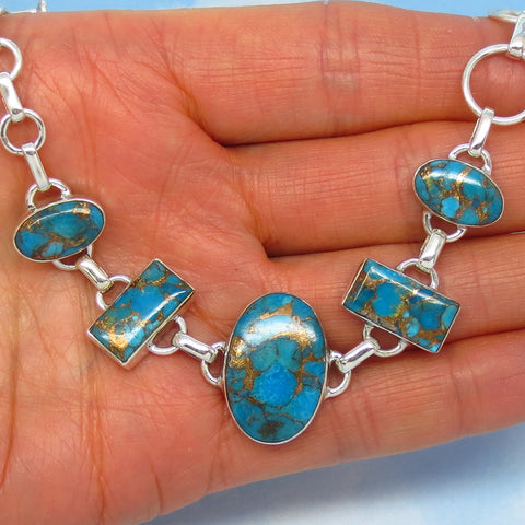 "Mojave Blue Copper Turquoise Bracelet - Sterling Silver - Natural Genuine Arizona Turquoise - Adjustable 6"" to 8"" - jy152808"