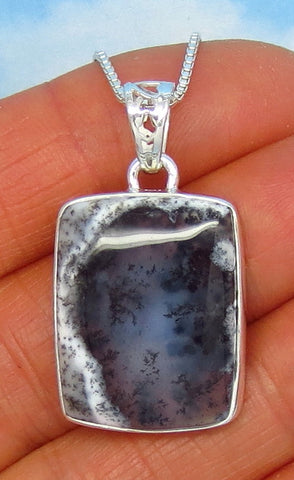 Merlinite Dendrite Opal Necklace - Sterling Silver - Dendrite Agate - Dendritic Opal - Dendritic Agate - Rectangle - Cushion Cut - jy171266