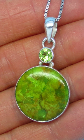 Australian Gaspeite Necklace - Sterling Silver - Peridot Accent - Round - p141546