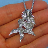 3-D Sterling Silver Mermaid Pendant - Surgical Stainless Steel Necklace - Men's Necklace - Beach Ocean Sealife - p171091