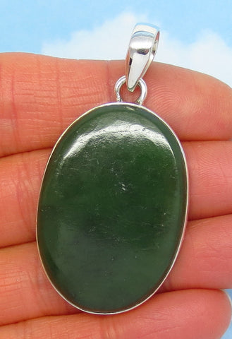 Natural Nephrite Jade Pendant - Sterling Silver - Dark Green - Large Oval - Statement - Genuine - jy172001