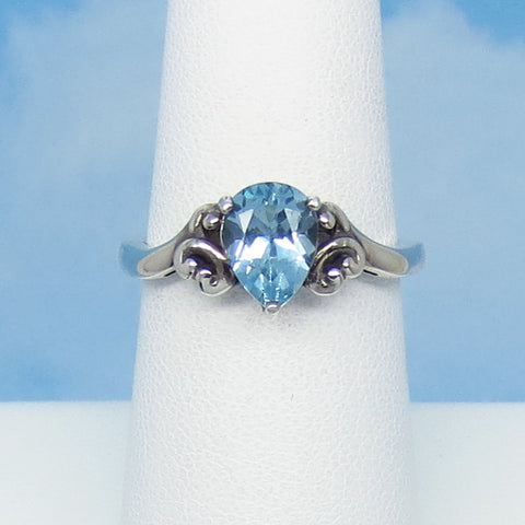 1.53ct Size 6 Natural Sky Blue Topaz Ring - Sterling Silver - Victorian Filigree Design - 8 x 6mm Pear Shape - Genuine - Dainty - su160779