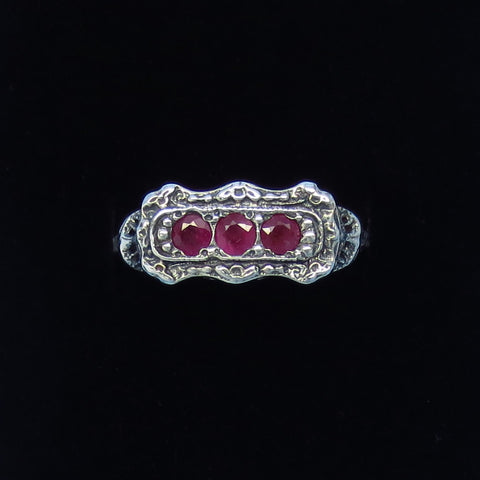 Size 6 - .45ct - Genuine Ruby Victorian Filigree Ring - Sterling Silver - Tiny - Dainty - Gothic - 3 Stone - Edwardian Reproduction - R333