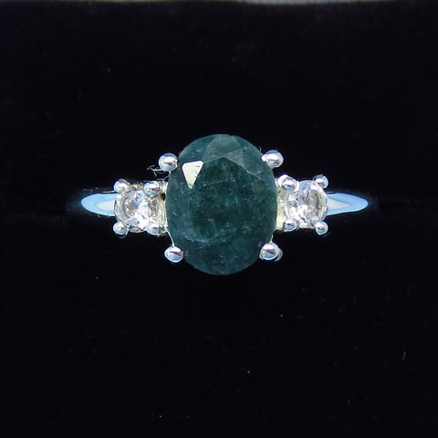 1.6ct Size 9 Genuine Emerald Ring - Sterling Silver - CZ Accents - Simple - 9 x 7mm Oval - j991033