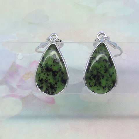 Nephrite Jade Earrings - Leverback - Sterling Silver - Genuine Jade - Natural Jade - Small - Pear Shape - Dark Green Jade - su171670