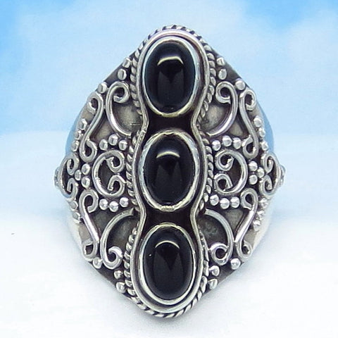 "Size 6-1/2 Natural Black Onyx Ring - Sterling Silver - 1"" Tall - Oval 3 Stone - Vintage Victorian Antique Filigree Design - SA361708-a2220"