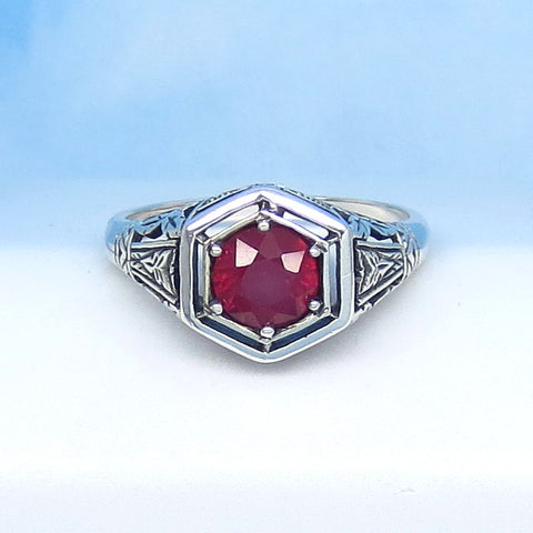 1.05ct - Size 6-1/2 Natural Ruby Ring Sterling Silver Victorian Filigree Reproduction Genuine Ruby Hexagon Art Nouveau Art Deco Geometric