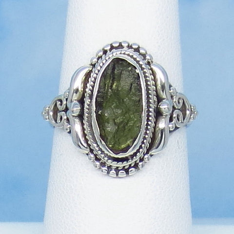 Size 6-3/4 Czech Moldavite Ring - Sterling Silver - Small - Victorian Filigree Design - Tektite - Meteorite - Natural Genuine - m12
