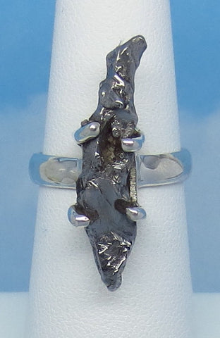 "Size 6 Meteorite Ring - Campo del Cielo - Argentina - Sterling Silver - 1-1/8"" Tall - 28 x 6mm Meteorite - Genuine Natural Real -- m261606"