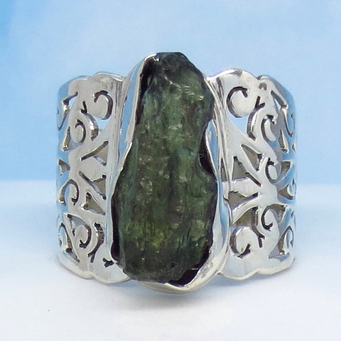 "Size 7-1/4 Czech Moldavite Ring - Sterling Silver - 3/4"" Tall - Wide Filigree Cigar Band - Tektite - Meteorite - Natural - Genuine - Boho - MM76"