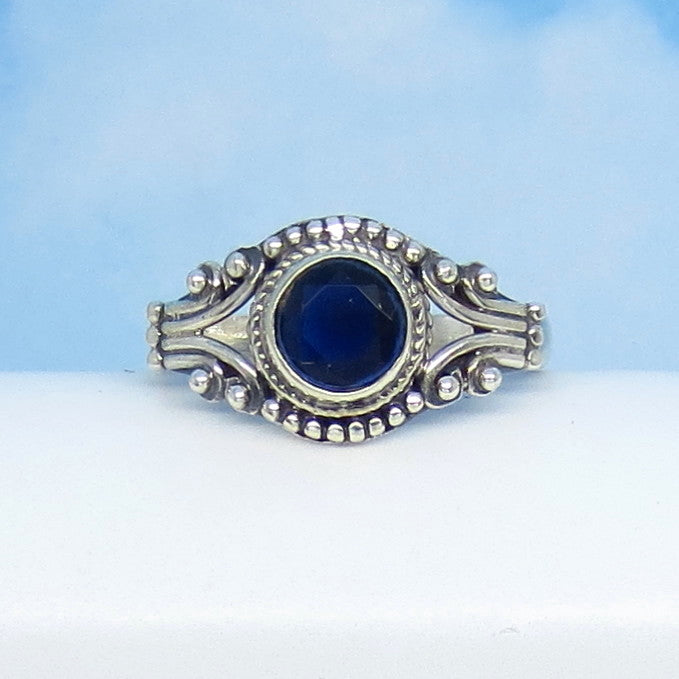 Size 7 - 1.05ct Natural Sapphire Ring - Sterling Silver - Victorian Filigree - Bali Boho Gothic Ring - Genuine - 0012-03