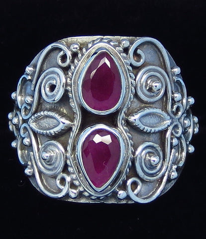 1.0ctw Size 8-1/4 Genuine Ruby Ring - Sterling Silver - Natural Ruby - Victorian Design - Flower Leaf - Filigree - M11