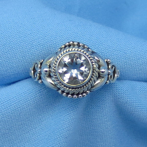 Size 5-3/4 Genuine White Topaz Ring - Sterling Silver - 1.25ct - 7mm Round - Victorian Filigree Bali Design - sa181202-rd