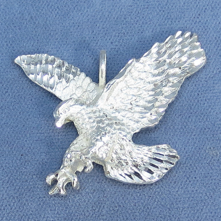 Sparkly Eagle Pendant - Sterling Silver - Diamond Cut - 11.9g -- P829