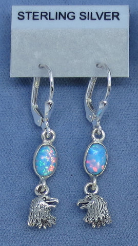 Dainty Pale Blue Fire Opal Eagle Earrings - Sterling Silver - Leverback - Lab Opal - Dangles - 260737