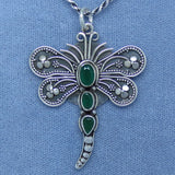 Large Natural Emerald Dragonfly Pendant Necklace - Sterling Silver - Rope Chain - Genuine Heated Emeralds - D171419
