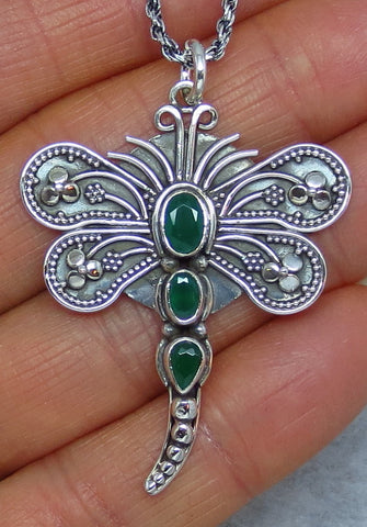 Genuine Emerald Dragonfly Necklace - Sterling Silver - Large - Oxidized -- D211409