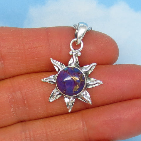 Small Natural Mojave Purple Copper Turquoise Sun Pendant Necklace - Sterling Silver -- p151203