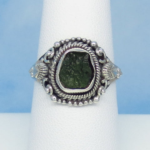 Size 8 Czech Moldavite Ring - Sterling Silver - Small ish - Victorian Filigree Design - Tektite - Meteorite - Natural Genuine - Boho - MM99