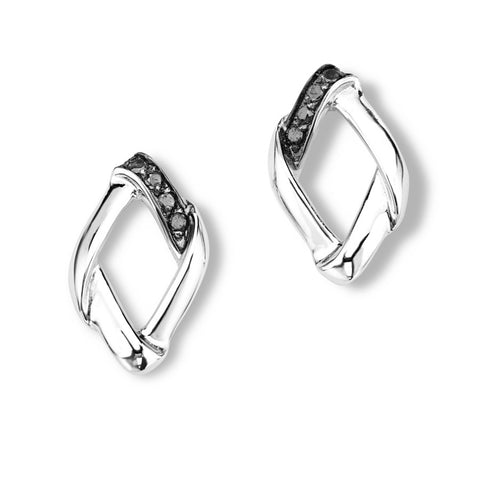 Silver Elegance Genuine Black Diamond Striped Post Earrings - Sterling Silver - Handmade  -  - EESE219D
