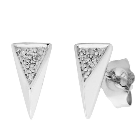 Silver Elegance Genuine Diamond Triangle Post Earrings - Sterling Silver - Handmade - - EESE260D