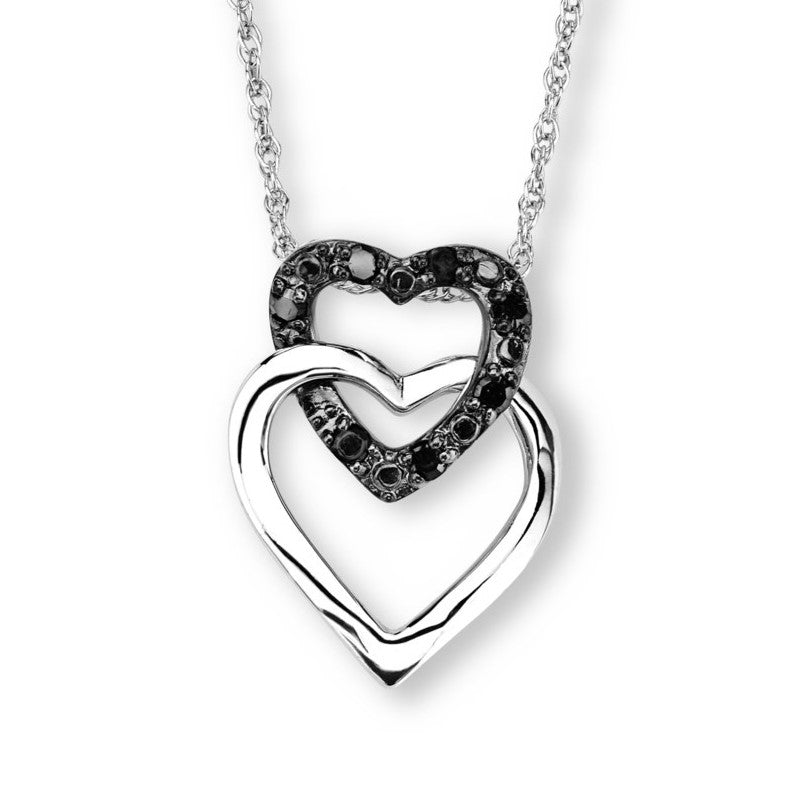 Silver Elegance Genuine Black Diamond Double Heart Pendant Necklace - Sterling Silver - Handmade- -EESP213D