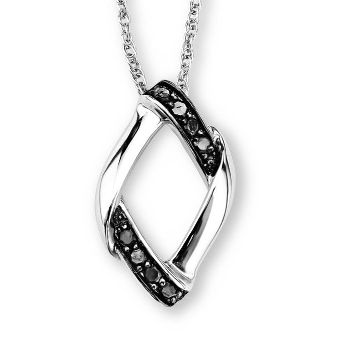 Silver Elegance Genuine Black Diamond Striped Pendant Necklace - Sterling Silver - Handmade - - EESP219D