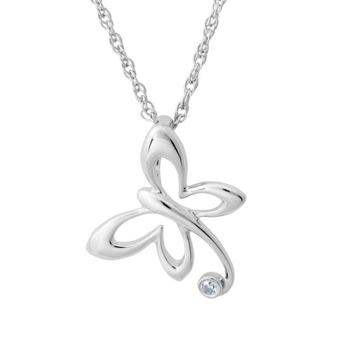 Silver Elegance Genuine Diamond Petite Butterfly Necklace - Sterling Silver - Made to Order - EESP220D